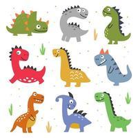 ilustração vetorial de diferentes dinossauros vetor