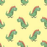 ilustração em vetor padrão sem emenda com desenho animado alegre dinossauro andando de skate em fundo amarelo