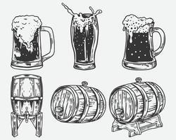 conjunto de vetores de coleção desenhado à mão objeto de cerveja