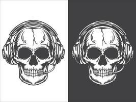 crânio usando fones de ouvido vetor