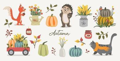 ilustração de vetor de coleção de outono fofa