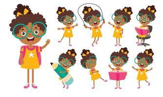 personagem de desenho animado estudando e aprendendo vetor