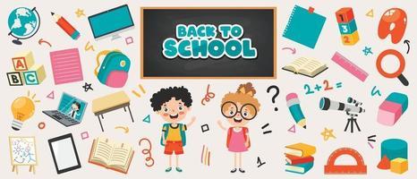 material escolar para educação infantil vetor