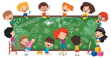 crianças engraçadas com quadro-negro vazio vetor