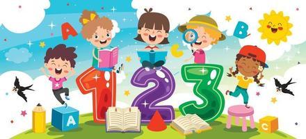 crianças felizes estudando e aprendendo vetor