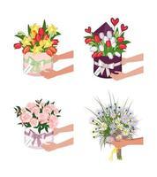 entrega de uma caixa redonda com narcisos de tulipas e margaridas mãos segurando buquês de flores vetor