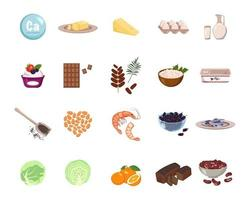 fonte de cálcio. um conjunto de laticínios, nozes e frutas secas. alimentos orgânicos naturais ricos em minerais. tempo para saúde e cuidados. ilustração em vetor plana