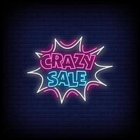 vetor de texto de estilo de sinais de néon de venda louca