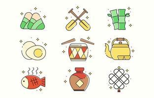 conjunto de ícone do festival de barco dragão vetor