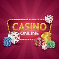 ilustração realista de casino online com moedas de ouro e fichas e dados de pôquer vetor