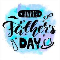 feliz dia do pai letras caligrafia cartão vetor saudação ilustração texto preto sobre fundo aquarela