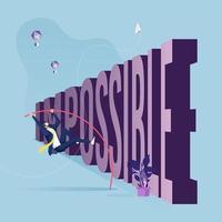 empresário salto com vara sobre problemas de texto. problemas e obstáculos no conceito de negócio vetor