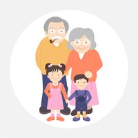 Avós e netos retrato ilustração vetorial