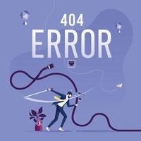 página de erro do conceito 404 ou arquivo não encontrado para a página da web vetor
