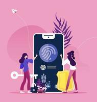 conceito de reconhecimento de dedo. proteção de segurança online vetor
