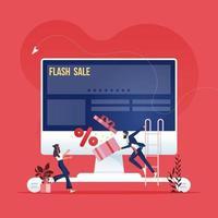 campanha de publicidade online. conceito de marketing de mídia social vetor