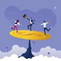 grupo de negócios tentando equilibrar uma moeda de um dólar. economizar dinheiro para equilibrar o conceito vetor