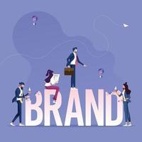 grupo de negócios que trabalha para a construção de uma marca de texto. conceito de construção de marca vetor