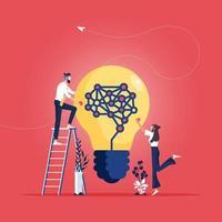 conceito de ideia para análise de trabalho em equipe de negócios vetor
