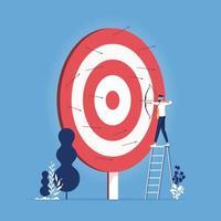empresário vendado atirando flecha. errou o alvo vetor
