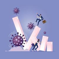 coronavírus causou o colapso da economia global conceito vetor