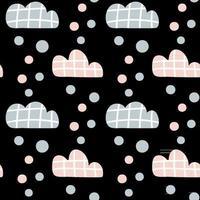 padrão de crianças de vetor com nuvens e gotas de chuva e pontos