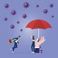 protegendo o conceito de coronavírus. líder empresária fica segura por um grande guarda-chuva vetor