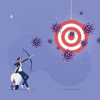 empresário atirando flecha para atacar a crise do coronavírus vetor