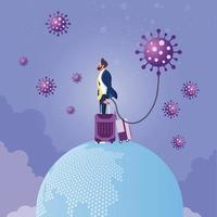 surto de pandemia de coronavírus espalhado pelo conceito de viajante vetor