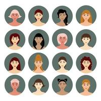 conjunto de penteados femininos de avatar lindas meninas com penteados diferentes isolados em um fundo branco vetor