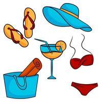 conjunto de elementos de verão chinelos chapéu de praia maiô bolsa de praia coquetel ilustração vetorial estilo cartoon vetor