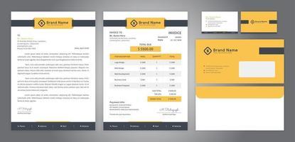 design amarelo de identidade corporativa incluindo papel timbrado fatura cartão de visita e envelope vetor