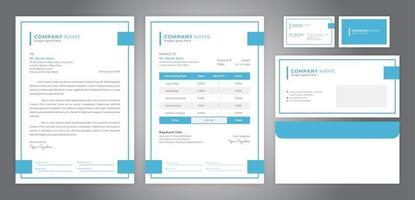 identidade corporativa com design de linha simples, incluindo papel timbrado, fatura, cartão de visita e envelope vetor