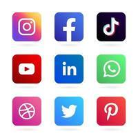 logotipo branco de mídia social na moldura quadrada colorida vetor