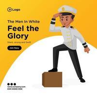 desenho de banner de homens de branco sinta a glória ilustração do estilo dos desenhos animados vetor