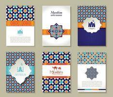conjunto de bandeiras de fundo árabe islâmico vetor