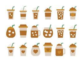 ícone da xícara de café gelado design plano caneca de café vetor