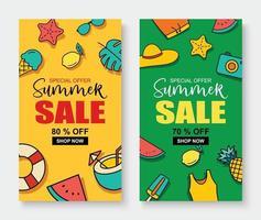 venda de verão banner modelo de capa fundo desconto de verão oferta especial design bonito vetor