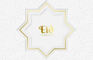 Ilustração em vetor eid mubarak com papel branco cortado em forma geométrica para as celebrações do mês sagrado islâmico