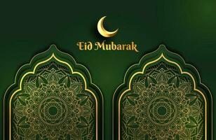 banner luxuoso de fundo verde escuro e dourado com ornamento de mandala islâmico arabescos modelo de design eid mubarak vetor