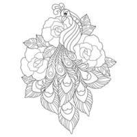 esboço desenhado à mão de pavão e flor rosa para livro de colorir adulto vetor