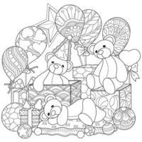 boneca do urso e caixa de presente desenhado à mão para livro de colorir adulto vetor