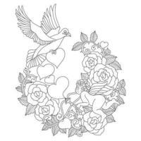 o pombo com esboço desenhado de mão de amor para livro de colorir adulto vetor