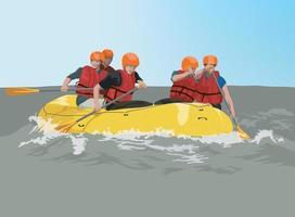 aventura de rafting em vetor gráfico de ilustração