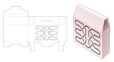caixa de lata flip obelisk top com modelo de estêncil de linha de luxo cortado vetor