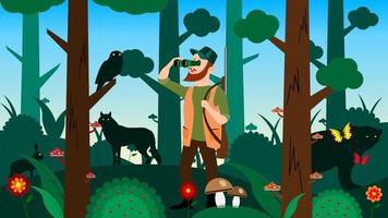 caçador olha através de binóculos em desenho animado da floresta vetor