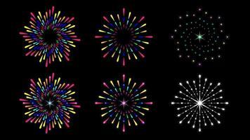 definir rodada respingo de fogos de artifício colorido isolado vetor