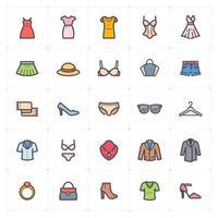linha de roupas femininas com ícone colorido vetor