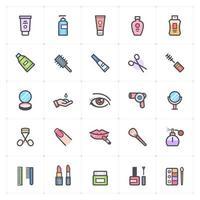 linha de cosméticos e beleza com ícone colorido vetor