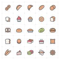 padaria e linha de doces com ícone colorido vetor